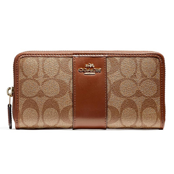 COACH กระเป๋า F54630 Accordion Zip Wallet in Signature Coated Canvas with Leather Stripe
