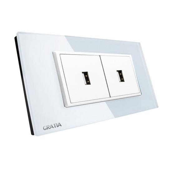GRATIA เต้ารับ USB 2 แอมป์ รุ่น GSUS02W สีขาว