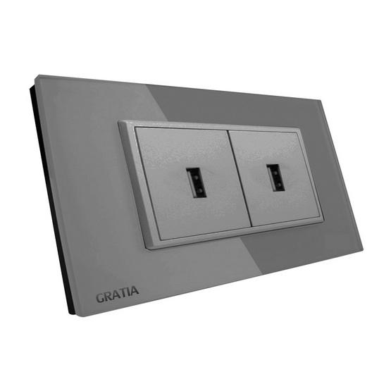 GRATIA เต้ารับ USB 2 แอมป์ รุ่น GSUS02GL สีเทา