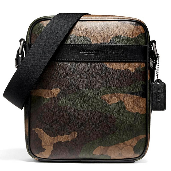 COACH กระเป๋าสะพายข้าง F59913 Charles Flight Bag in Animated Signature Camo Print Coated