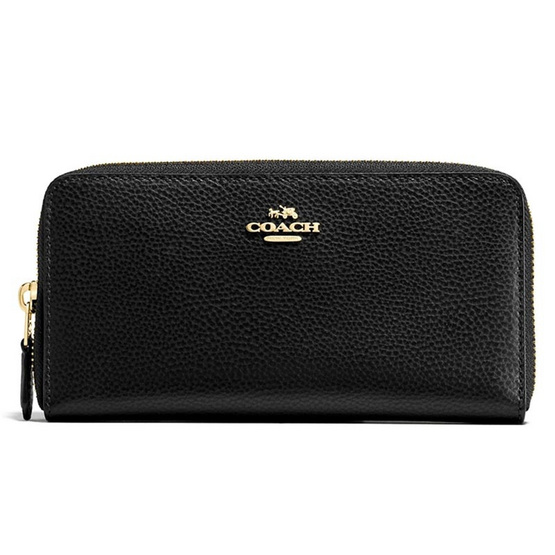 COACH กระเป๋าสตางค์ F16612 Accordion Zip Wallet in Polished Pebble Leather