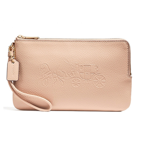 COACH กระเป๋าคล้องมือสองซิป F23818 Double Zip Wallet with Embossed Horse and Carriage