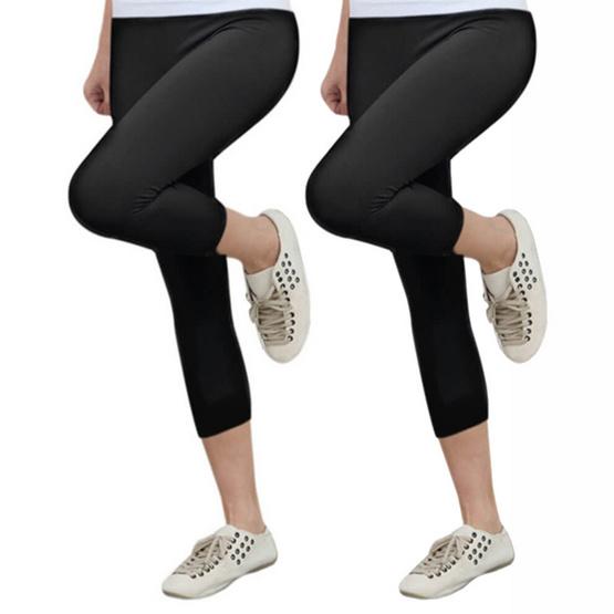 SWANS cool leggings แพคคู่ กางเกงเลกกิ้ง 4 ส่วน Free Size สีดำ