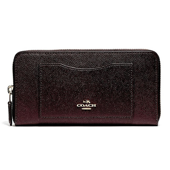 COACH กระเป๋าสตางค์ ACCORDION ZIP WALLET IN CROSSGRAIN LEATHER