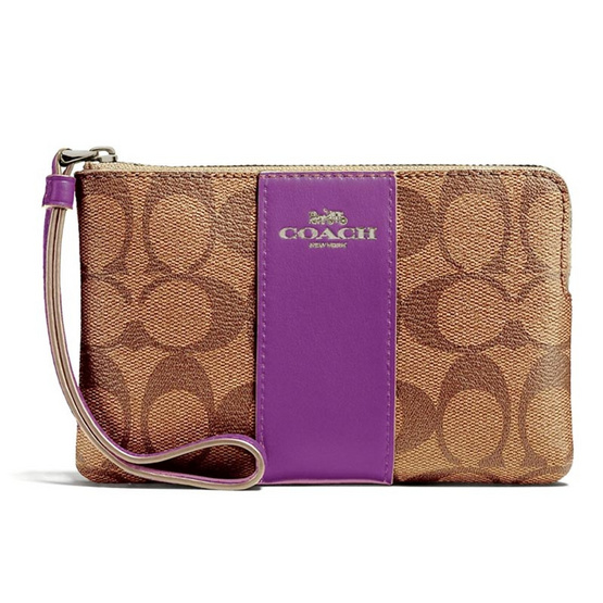 COACH กระเป๋า CORNER ZIP WRISTLET IN SIGNATURE COATED CANVAS