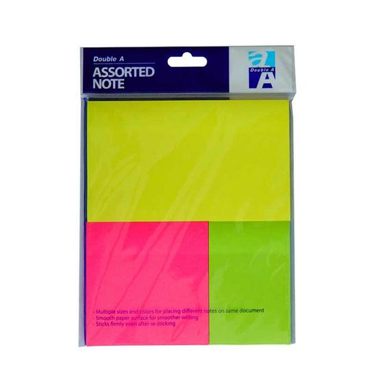 Double A กระดาษโน๊ต 3 ขนาด 3 สี (บรรจุ 12 ซอง/กล่อง)