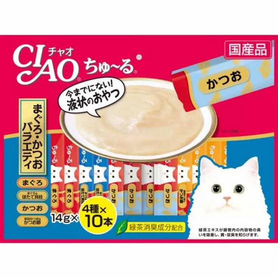 CIAO Chu-ru ขนมแมวเลีย ปลาทูน่า รสผสม 40 ซองรวม 1 แพ็ค