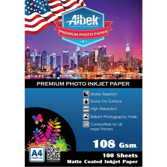 Aibek Glossy Paper Matt 108 G/100 Sheets (A4)
