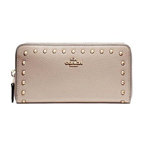 COACH กระเป๋าสตางค์ F23505 ACCORDION WALLET WITH LACQUER RIVETS