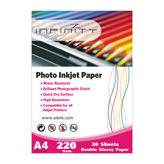 Infinity Glossy Paper Double Sides 220 G/20 Sheets (A4)