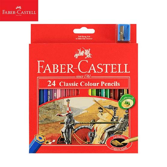 Faber-Castell ดินสอสีไม้อัศวิน 24 สี กล่องกระดาษ