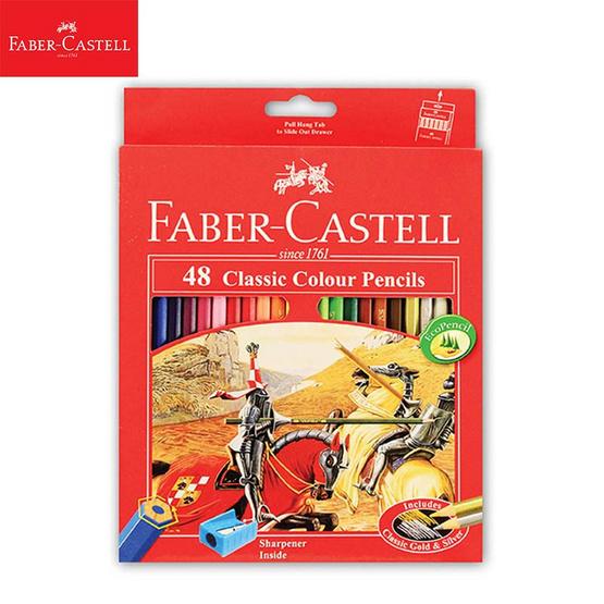 Faber-Castell ดินสอสีไม้อัศวิน 48 สี กล่องกระดาษ