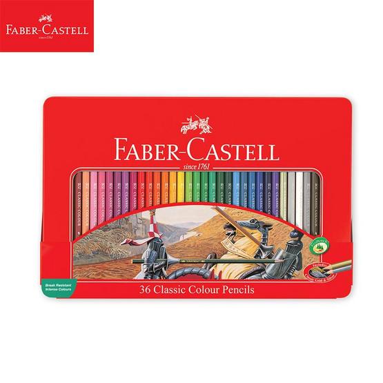 Faber-Castell ดินสอสีไม้อัศวิน 36 สี กล่องเหล็ก