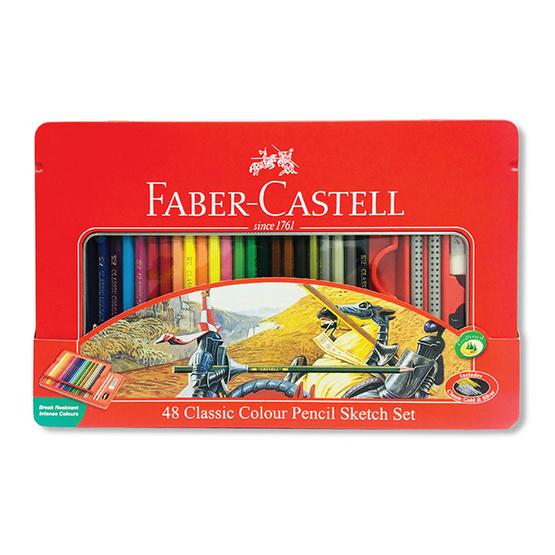 Faber-Castell ดินสอสีไม้อัศวิน 48 สี กล่องเหล็ก