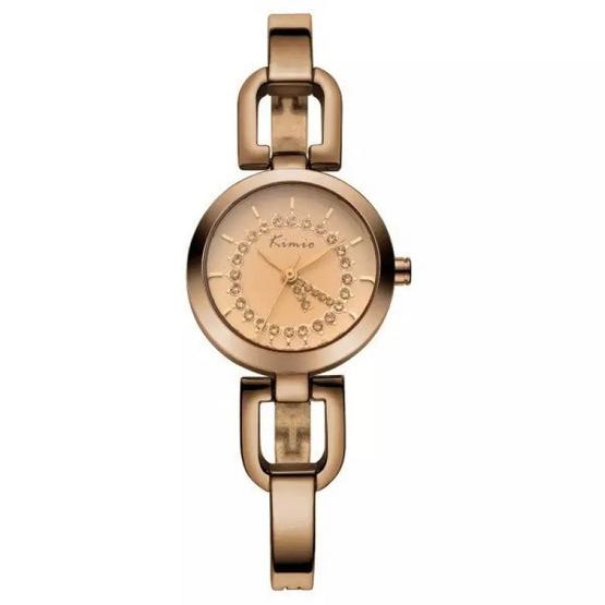 Kimio นาฬิกาข้อมือผู้หญิง สีน้ำตาล/ทอง สายสแตนเลส รุ่น KW6102