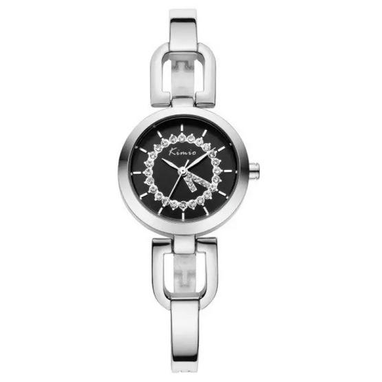 Kimio นาฬิกาข้อมือผู้หญิง สีเงิน/ดำ สายสแตนเลส รุ่น KW6102