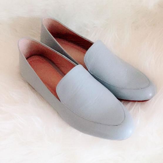 Nunnita shoes รองเท้าหนังแท้ รุ่น Flat shoes สี Blue Pastel