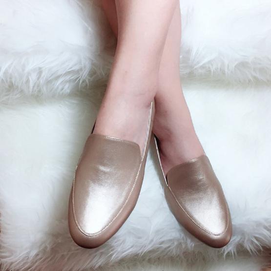 Nunnita shoes รองเท้าหนังแท้ รุ่น Flat shoes สี Golden Brown