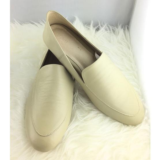 Nunnita shoes รองเท้าหนังแท้ รุ่น Flat shoes สี Beige Green