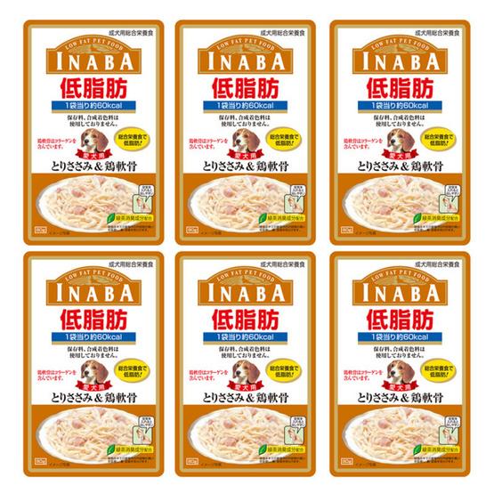 Inaba อาหารสุนัขชนิดเปียก Low Fat รสเนื้อสันในไก่และกระดูกอ่อนในเยลลี่ 80 กรัม  (6 แพ็ค)