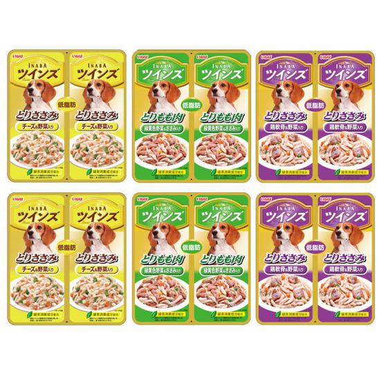 Inaba อาหารสุนัขชนิดเปียกคละ 3 รส ใส่ผักในเยลลี่ 40 กรัมแพ็คคู่   (6 แพ็คคู่)