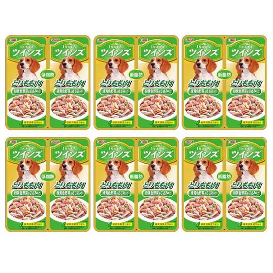 Inaba อาหารสุนัขชนิดเปียก รสเนื้อน่องสะโพกไก่ไม่มีกระดูกผสมเนื้อสันในไก่และผักในเยลลี่ 40 กรัมแพ็คคู่ (6 แพ็คคู่)