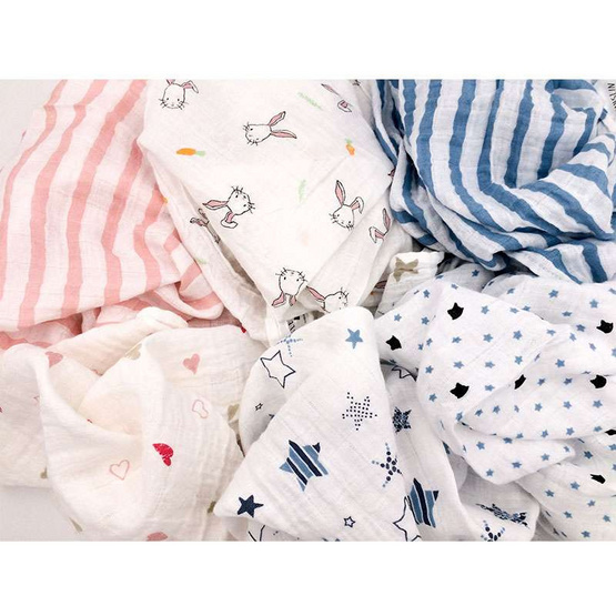 MUSLIN ผ้าอ้อมมัสลินคอตตอน 27 x 27 นิ้ว คละสี