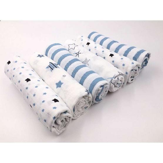 MUSLIN ผ้าอ้อมมัสลินคอตตอน 27 x 27 นิ้ว Set สีฟ้า คละลาย