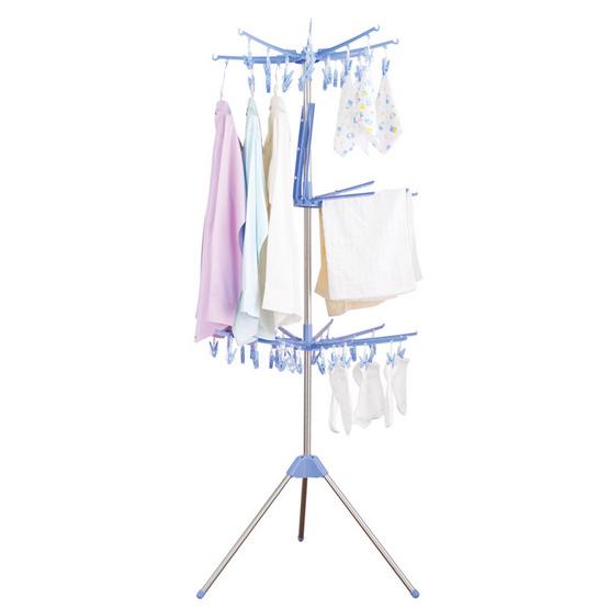 Shopsmart ราวตากผ้า 3 ชั้นหมุนได้ 360 องศา-สีฟ้า
