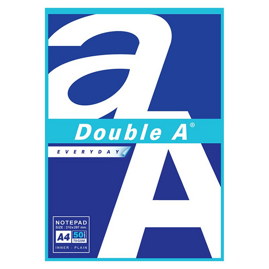 Double A สมุดรายงาน A4 70 แกรม 50 แผ่น ไม่มีเส้น (แพ็ค 12 เล่ม)