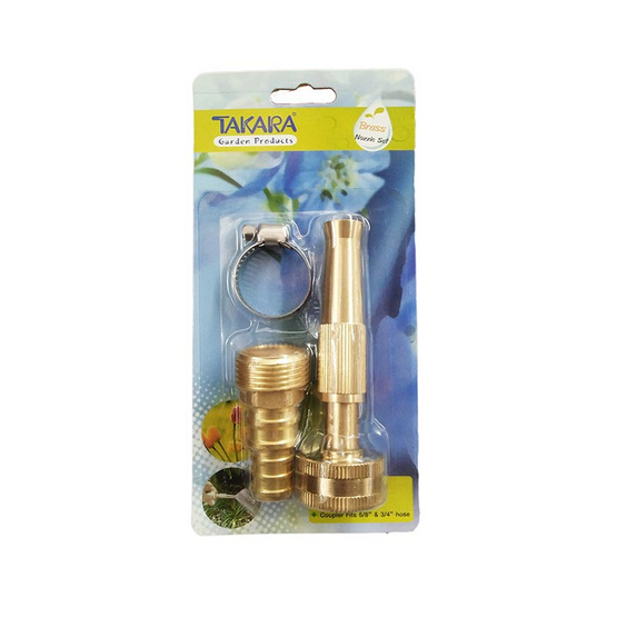 TAKARA ชุดหัวฉีดน้ำทองเหลืองพร้อมข้อรัดเหล็ก