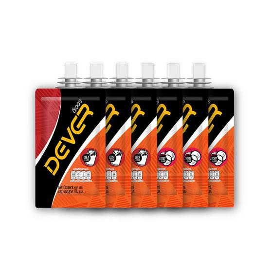 DEVER Energy gel set ดีเวอร์ เครื่องดื่มแบบเจล 100 มล. รสโคล่า 3 ซอง และรสลิ้นจี่ 3 ซอง (รวม 6 ซอง)