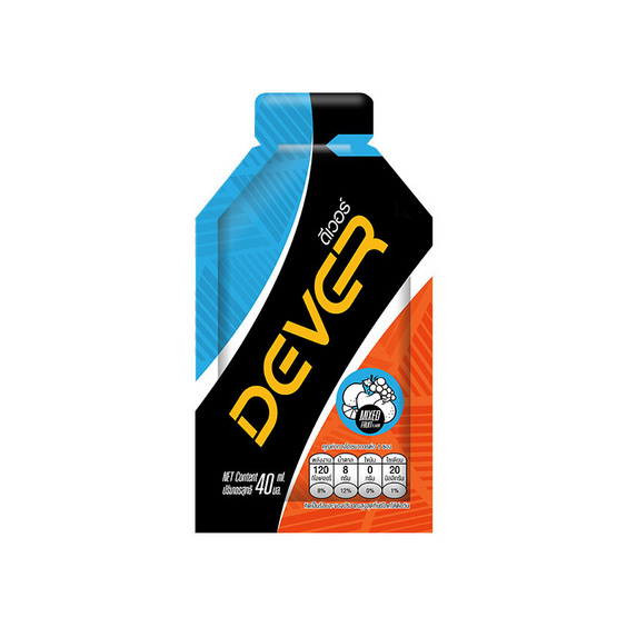 DEVER Energy gel ดีเวอร์ เครื่องดื่มแบบเจล รสผลไม้รวม 40 มล. (รวม 12 ซอง)