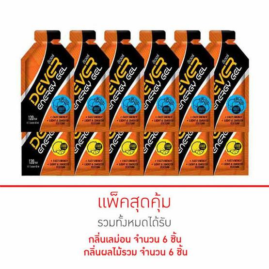 DEVER Energy gel set ดีเวอร์ เครื่องดื่มแบบเจล 40 มล. รสผลไม้รวม 6 ซอง และรสเลม่อน 6 ซอง (รวม 12 ซอง)
