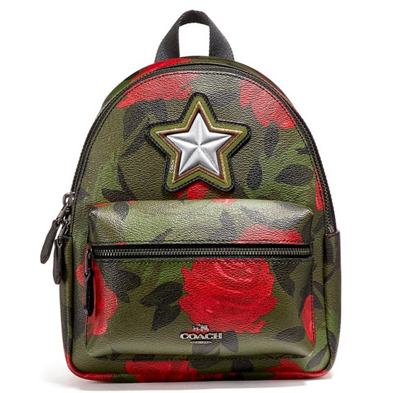 กระเป๋า COACH F25869 MINI CHARLIE BACKPACK WITH CAMO ROSE FLORAL PRINT (QBREM) [MCF25869QBREM]