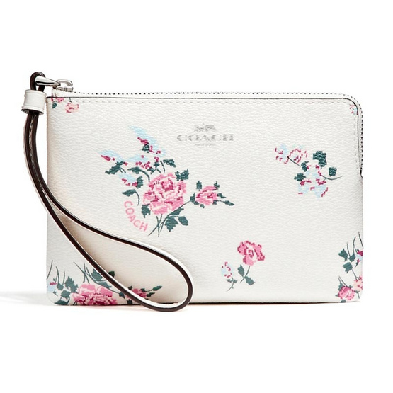 กระเป๋า COACH F26217 CORNER ZIP WITH CROSS STITCH FLORAL PRINT  (SVCAH) [MCF26217SVCAH]