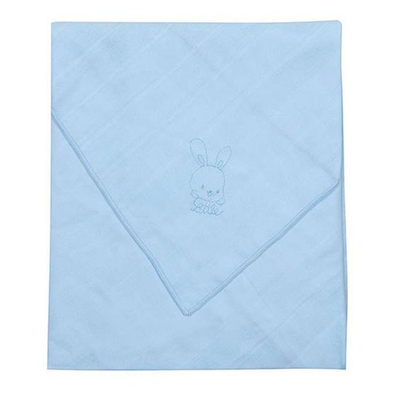 Little Wacoal ผ้าอ้อมสาลูแพ็ค 10 ผืน 27 x 27 นิ้ว สีฟ้า ปักลายฟ้า