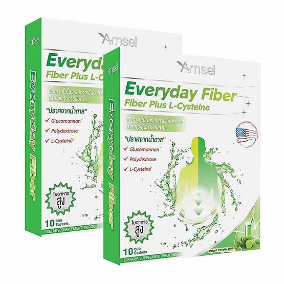 Amsel Fiber Plus L-cysteine ผลิตภัณฑ์เสริมอาหารแอมเซล ไฟเบอร์ พลัส แอล-ซิสเทอีน บรรจุ 10 ซอง แพ็ค 2
