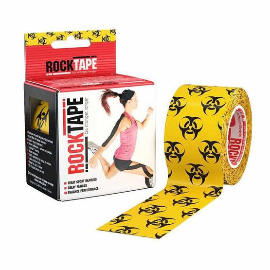 ROCKTAPE เทปพยุงกล้ามเนื้อ รุ่นมาตรฐาน ลาย Biohazard สีเหลือง-ดำ ขนาดกว้าง 5cm ยาว 5m