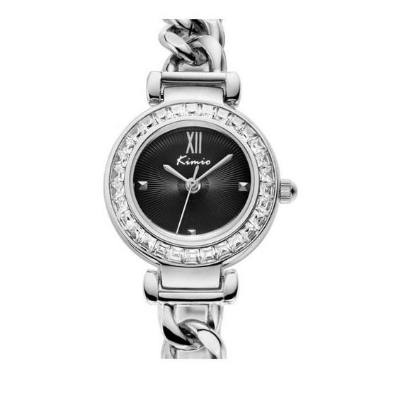 Kimio นาฬิกาข้อมือผู้หญิง สีเงิน/ดำ สายสแตนเลส รุ่น KW6030