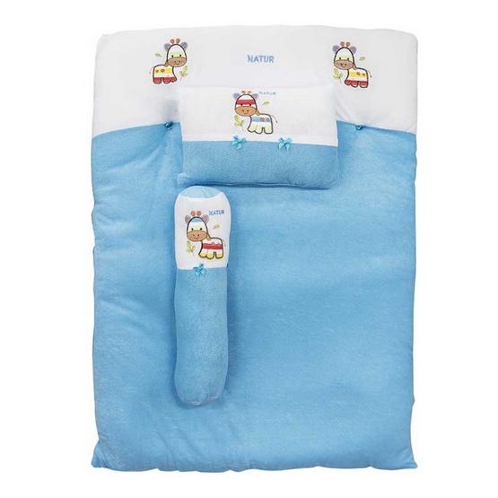 NATUR ที่นอนปิคนิคผ้าขนหนู 29 x 39 นิ้ว สีฟ้า
