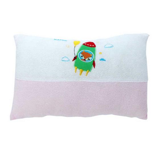 NATUR ที่นอนฟองน้ำผ้าขนหนู ขนาด 22x35x2.5 นิ้ว สีชมพู