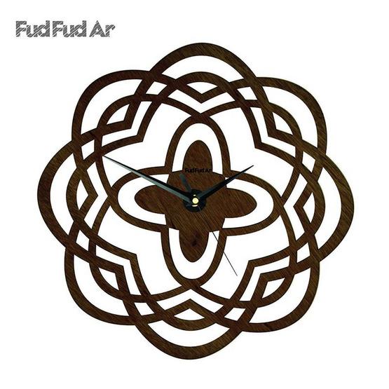 FudFudAr นาฬิกาแขวนผนังขนาด 12 นิ้ว ลายไม้โอ๊ค C010O