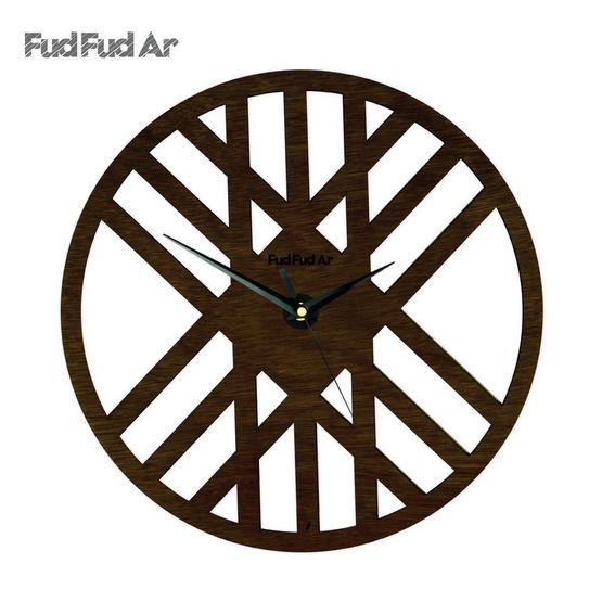 FudFudAr นาฬิกาแขวนผนังขนาด 12 นิ้ว ลายไม้โอ๊ค C036O