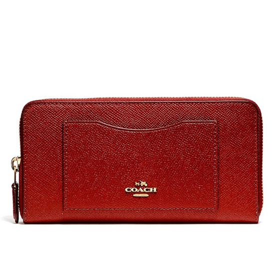 กระเป๋าสตางค์ COACH F54007 ACCORDION ZIP WALLET IN CROSSGRAIN LEATHER