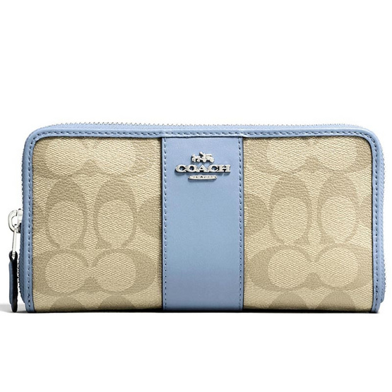 new arrival 8dff0 0b383 กระเป๋า COACH F54630 ACCORDION ZIP WALLET IN SIGNATURE COATED CANVAS WITH  LEATHER STRIPE