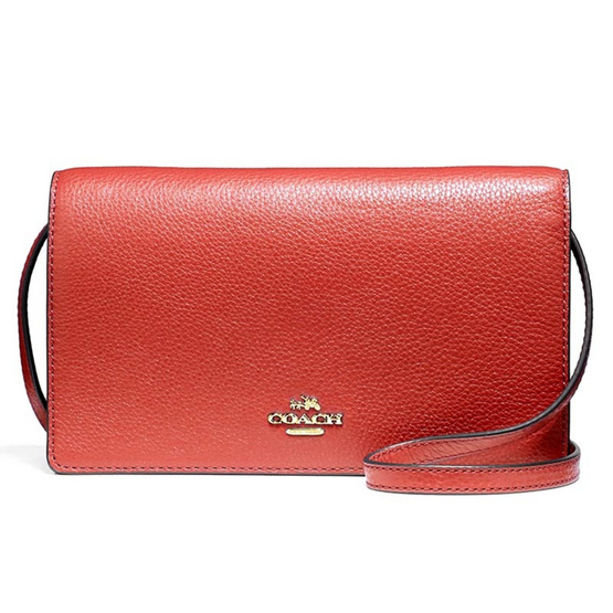 กระเป๋า COACH F54002 FOLDOVER CLUTCH CROSSBODY IN PEBBLE LEATHER