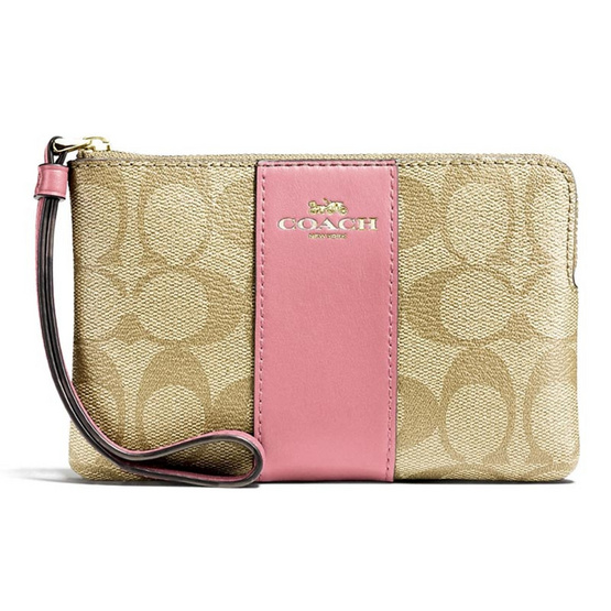 กระเป๋า COACH F58035 CORNER ZIP WRISTLET IN SIGNATURE COATED CANVAS WITH LEATHER STRIPE