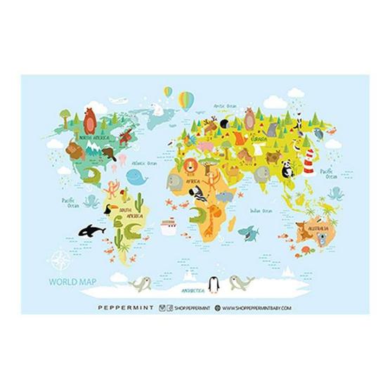 Peppermint แผ่นรองอเนกประสงค์ ลาย แผนที่โลก