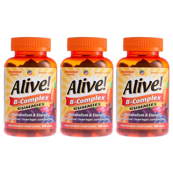 Alive ผลิตภัณฑ์เสริมอาหารอะไลซ์ กัมมี่ วิตามิน B รวม บรรจุ 60 ชิ้น/กระปุก
